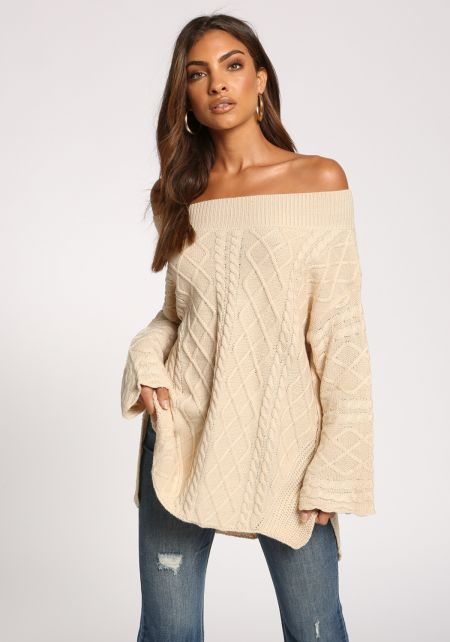 Oatmeal Cable Knit Off Shoulder Sweater Top