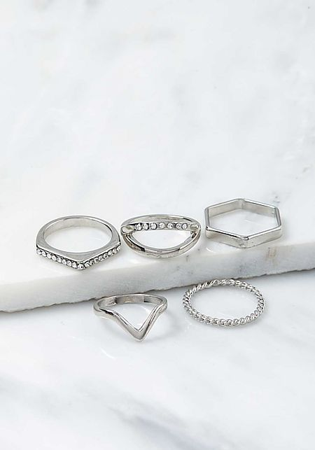 Silver Assorted Rings Set