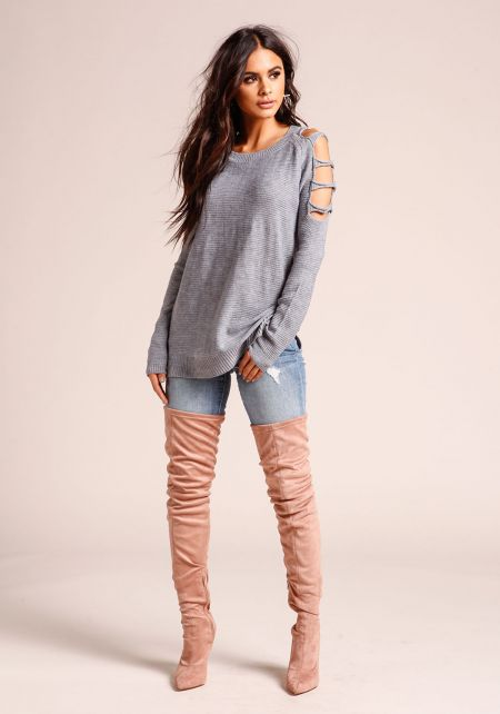 Heather Grey Shoulder Cut Out Sweater Top