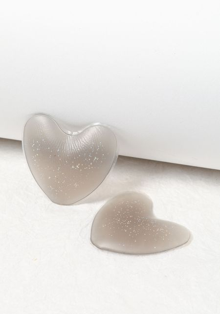 Grey Heart Shimmer Silicone Nipple Covers