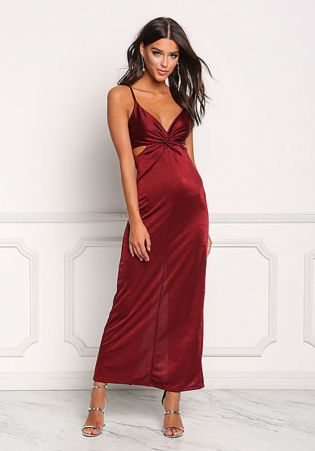 Burgundy Lustrous Twisted Cut Out Maxi Dress