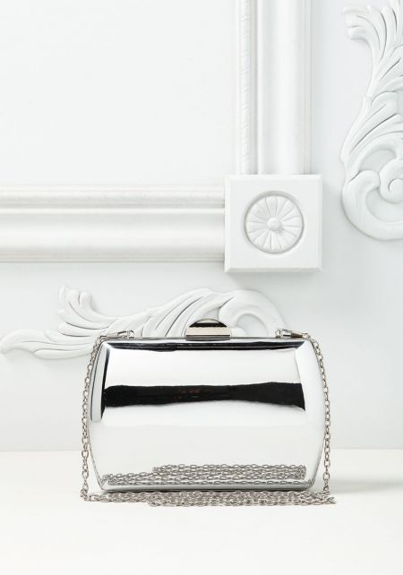 Silver Chrome Rounded Clutch