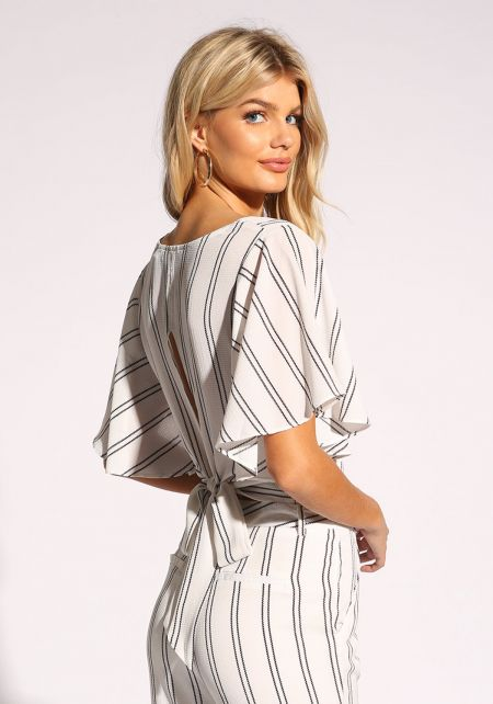 White and Black Pinstripe Tie Back Crop Top