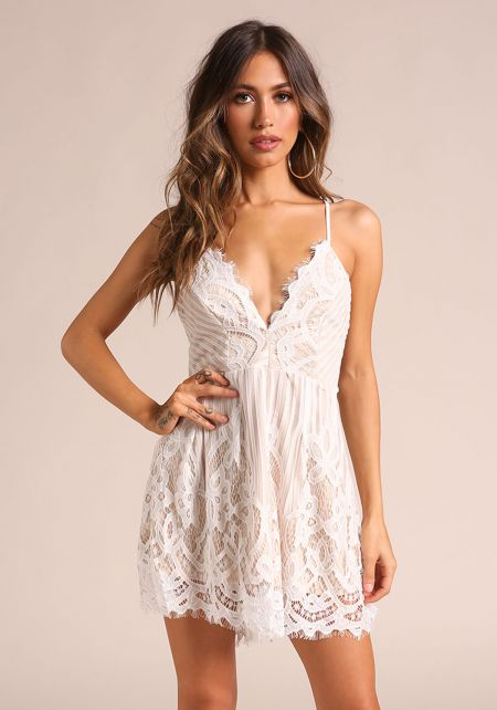 Ivory Back Lace Up Scallop Romper