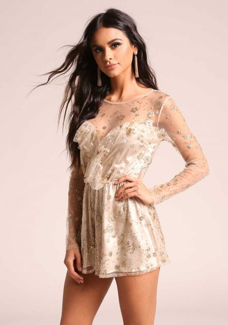 Gold Glitter Tulle Sweetheart Flared Romper