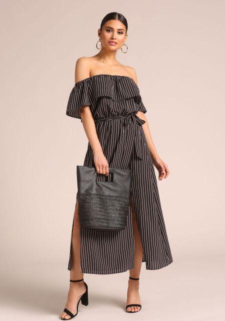 Black Pinstripe Slit Off Shoulder Maxi Dress