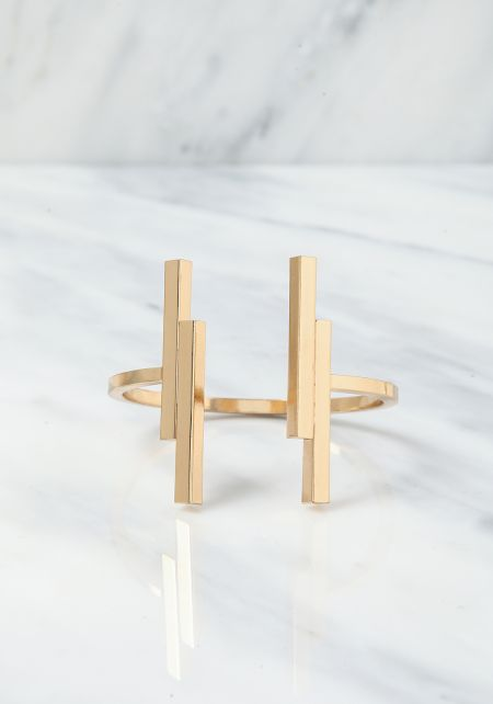 Gold Double Bar Cuff Bracelet