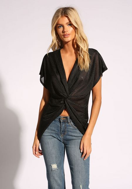 Black Twisted Ribbed Blouse