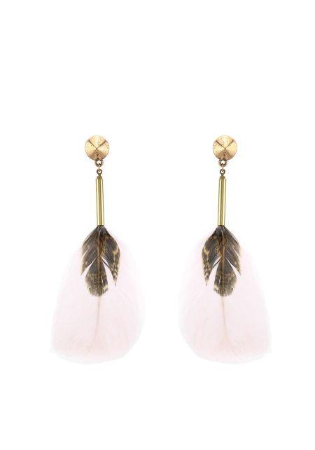 Ivory Faux Feather Dangle Earrings
