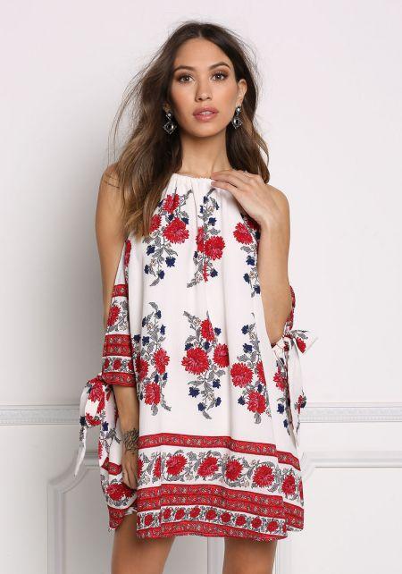 Multi Floral Cold Shoulder Shift Dress