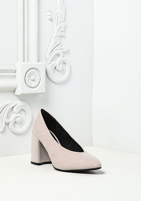 Oatmeal Suedette Pointed Toe Heels