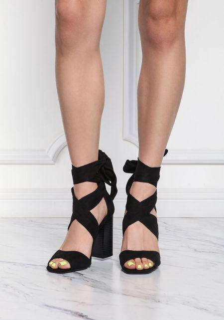 Black Suedette Cross Over Heels