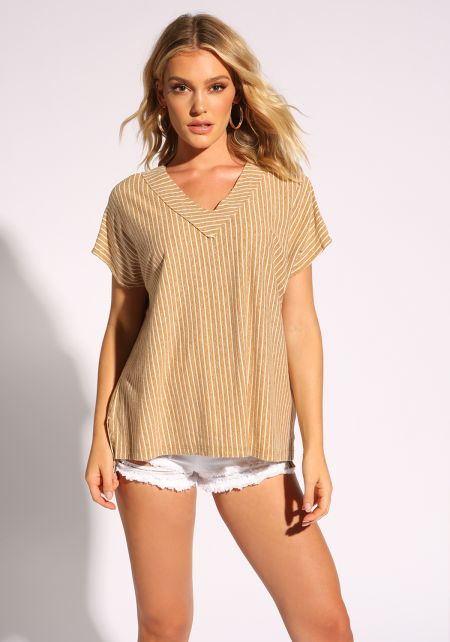 Mustard Stripe V Neck Tee