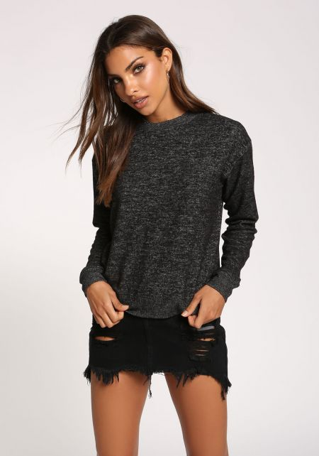 Black Soft Knit Sweater Top