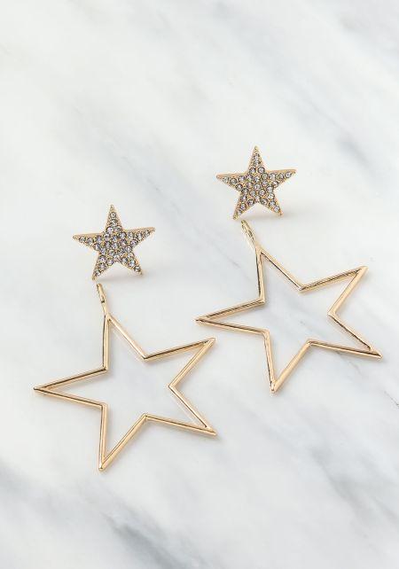 Gold Double Star Rhinestone Earrings