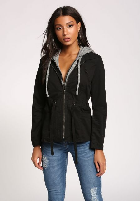 Black Hooded Utility Jacket