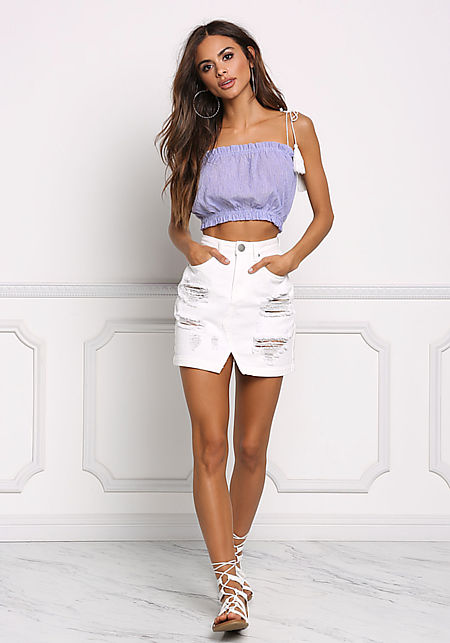 Off White Distressed High Rise Denim Skirt