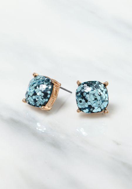 Blue Rhinestone Glitter Earrings