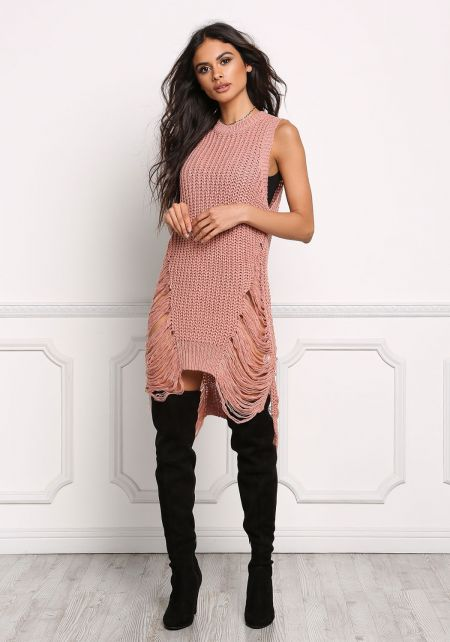Dusty Pink Thick Knit Frayed Tunic Tank Top