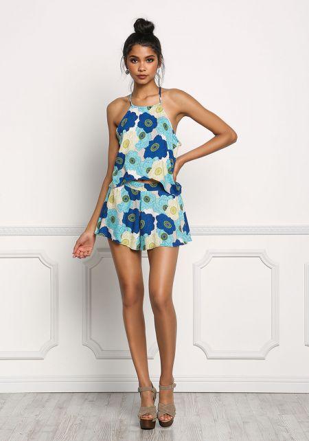 Blue Floral Print Flared Shorts