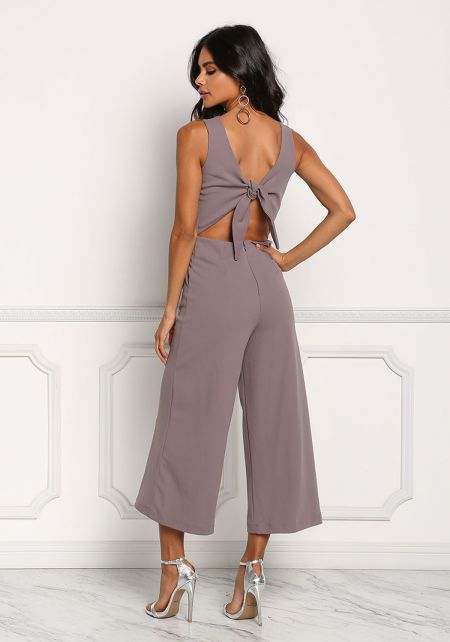 Dusty Lilac Tie Back Cropped Jumpsuit