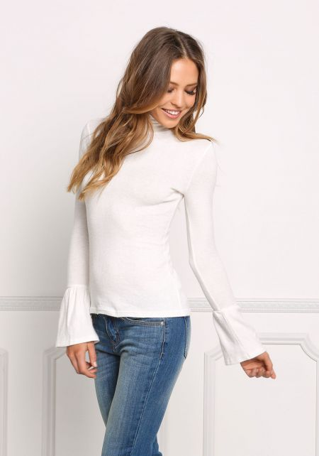 Off White Solid Sleek Bell Sleeve Top