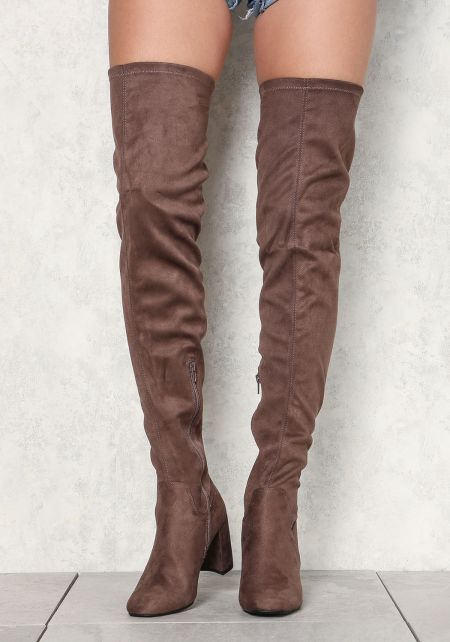 Taupe Suedette Thigh High Boots