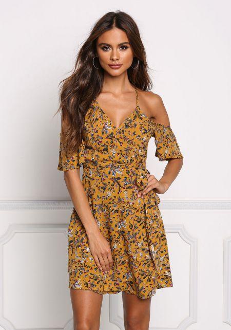Mustard Floral Wrap Cold Shoulder Dress