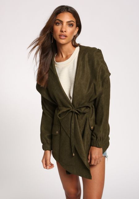 Olive Fold Over Hooded Waist Tie Jacket