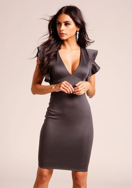 Charcoal Ruffle Sleeve Bodycon Dress