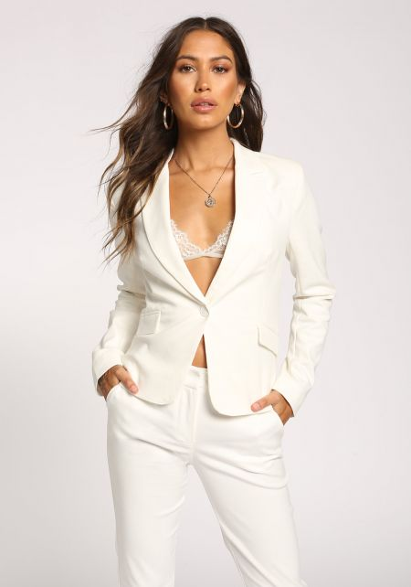 White Plunge Single Breasted Blazer