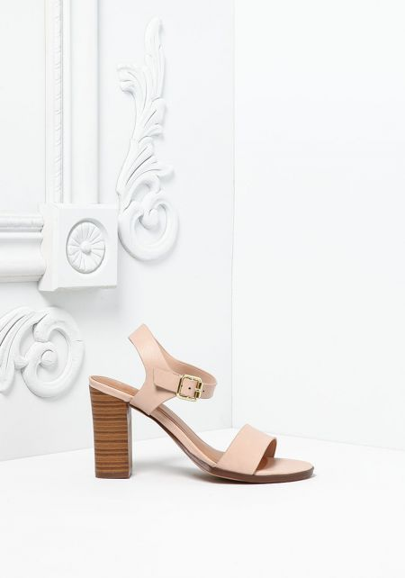 Blush Leatherette Ankle Strap Stacked Heels