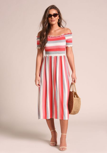 Coral Stripe Smocked Off Shoulder Midi Dress