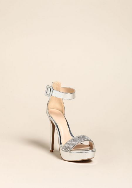 Silver Metallic Rhinestone Strap Heels
