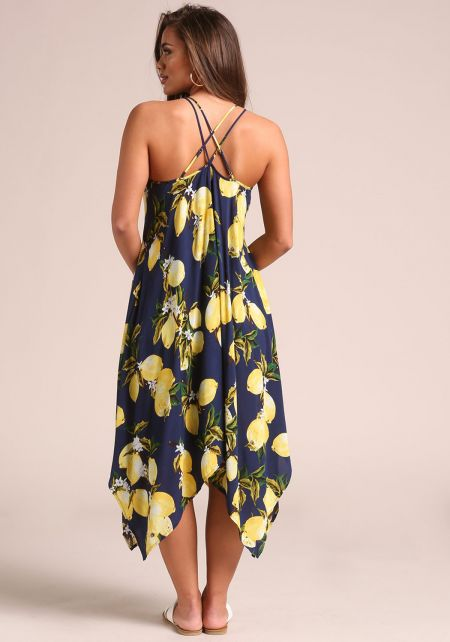Navy Lemon Print Cross Strap Midi Dress