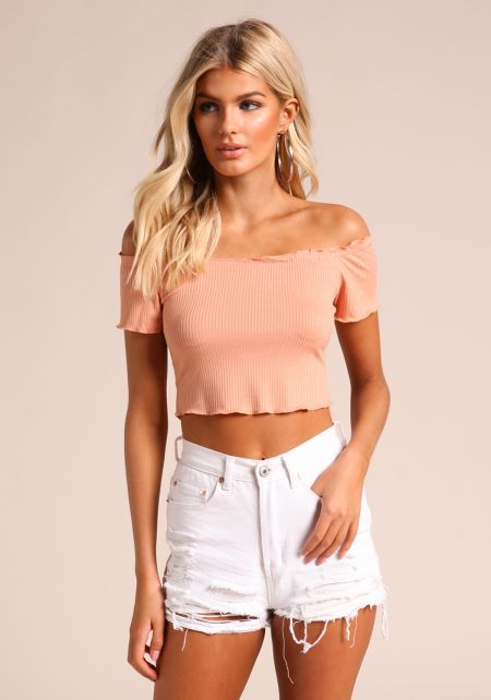 Peach Ribbed Knit Off Shoulder Crop Top
