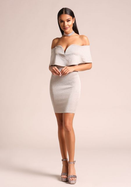 Khaki Shimmer Plunge Off Shoulder Bodycon Dress