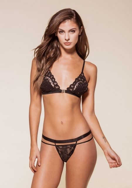 Black Lace Double Strap Cheeky Panty