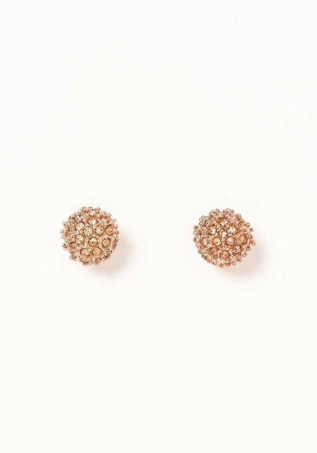 Rose Gold Round Rhinestone Earrings
