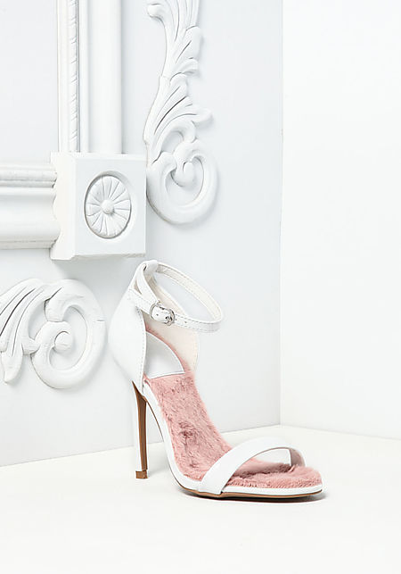 White Patent Leatherette Faux Fur Heels