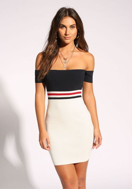 White and Navy Off Shoulder Bodycon Dress