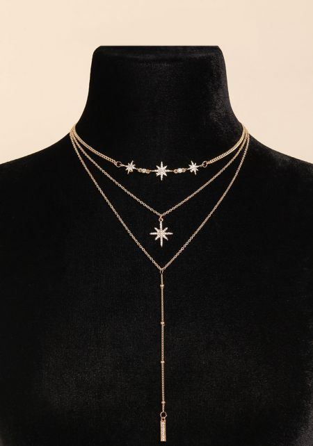 Gold Rhinestone Star Delicate Drop Necklace