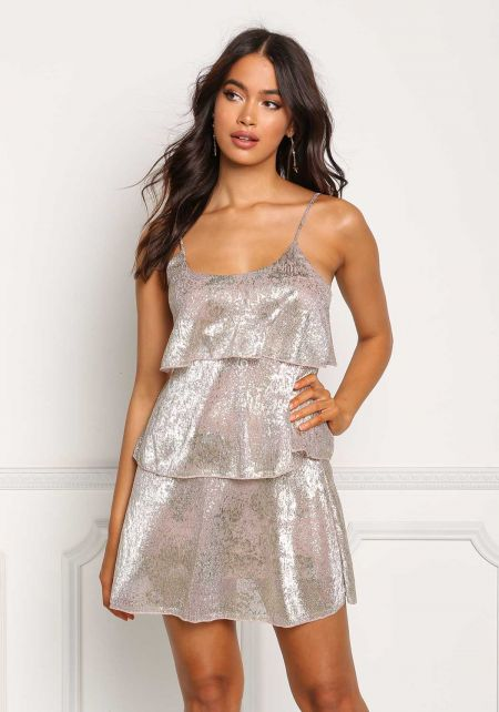 Rose Gold Crepe Metallic Tiered Shift Dress