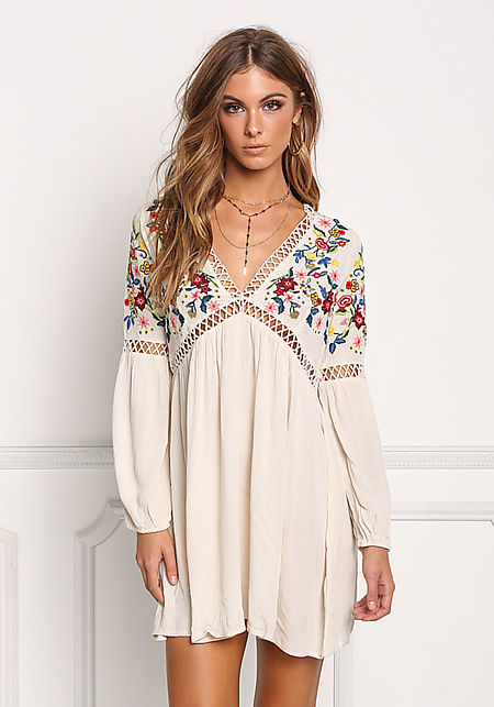 Cream Floral Embroidered Crepe Shift Dress