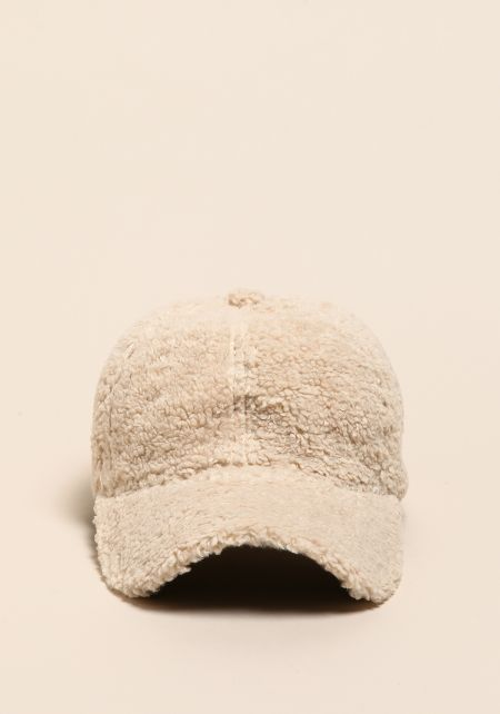 Ivory Faux Fur Dad Cap