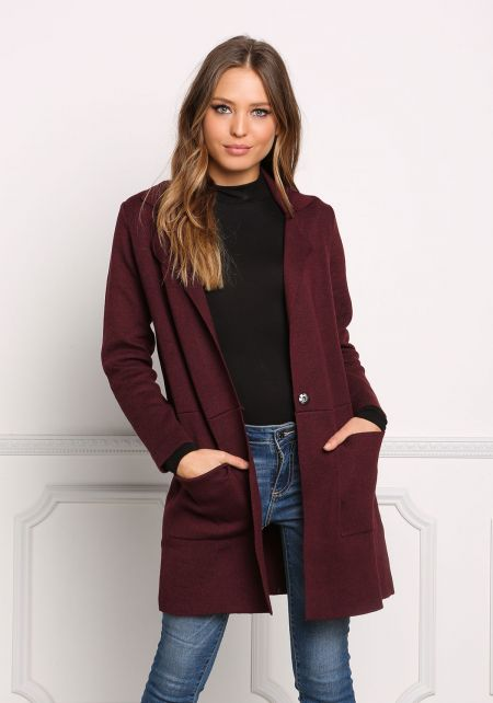 Burgundy Straight Collared Knit Coat