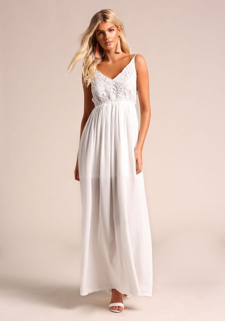 White Low Back Embroidered Maxi Dress