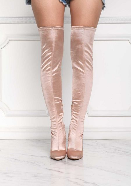 Champagne Lustrous Over The Knee Boots