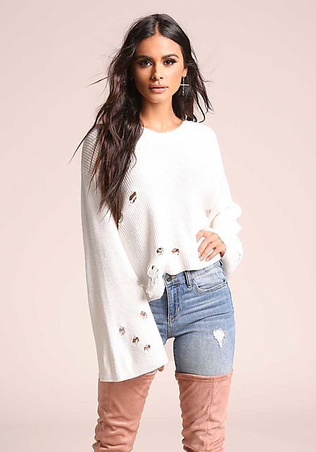 Ivory Bell Sleeve Distressed Sweater Top