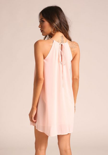 Blush Chiffon Shift Dress